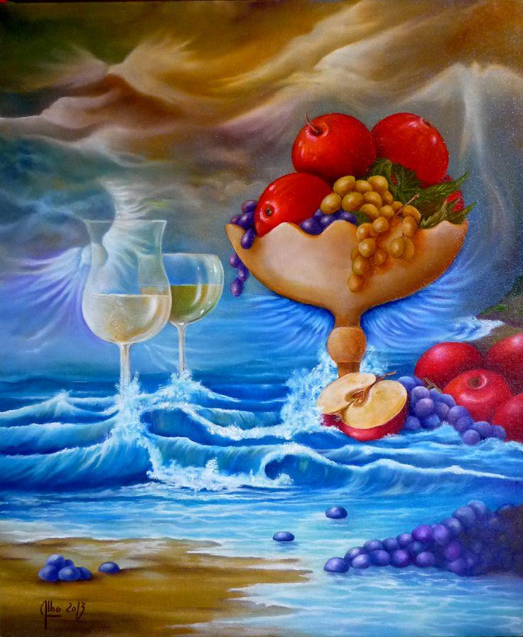 """ Fruits de Mer "" huile sur toile https://www.facebook.com/albo.arts"