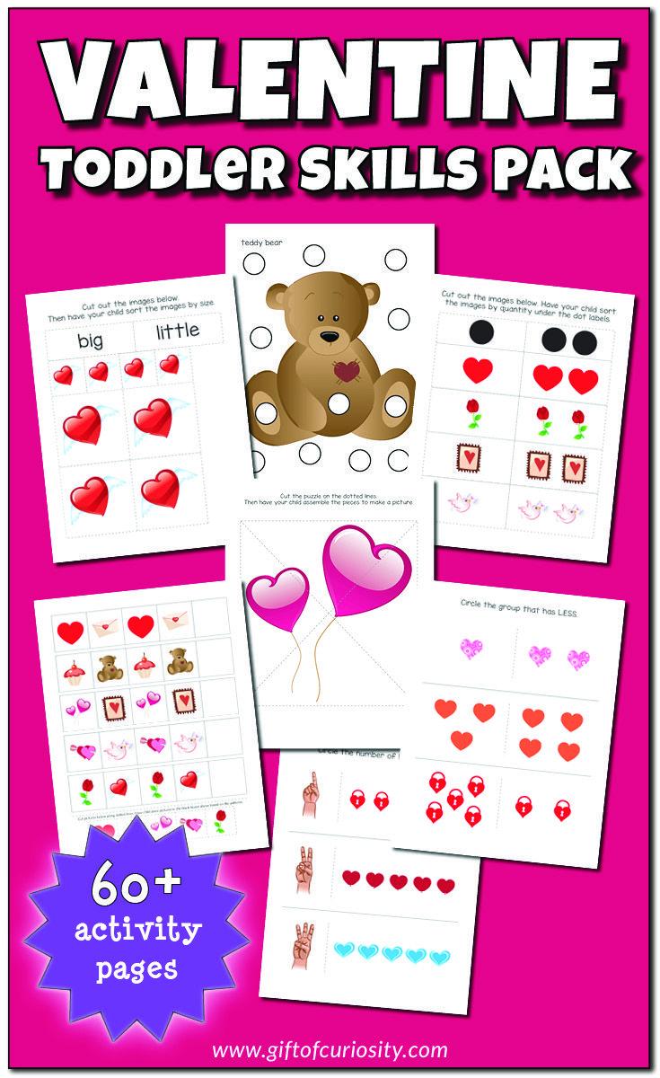 Valentine S Day Toddler Skills Pack Toddler Skills Valentines Day Activities Valentine Activities