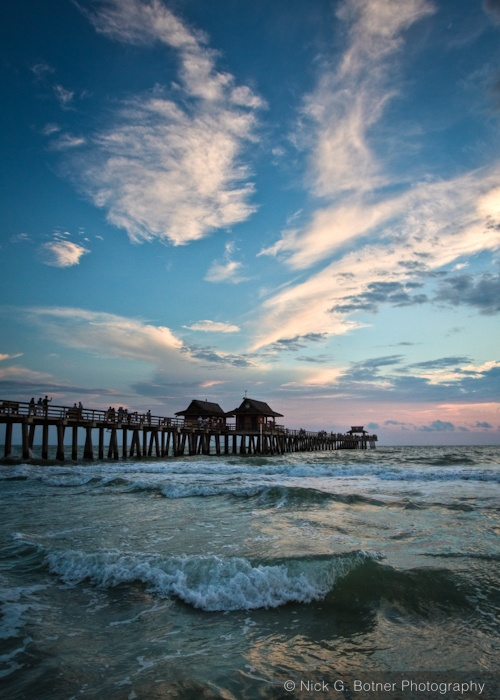 After sunset at the Naples Pier in Naples Florida.