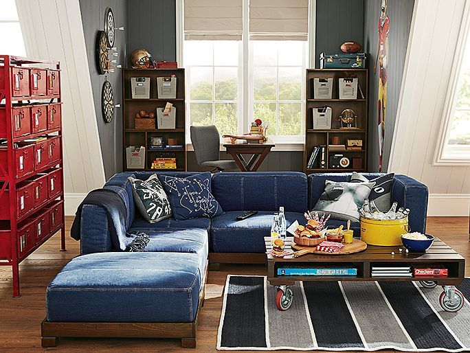 Here's the denim sectional sofa I got from Pottery Barn. I didn't get the flat base as shown here; I bought the storage bases instead.