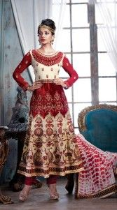 """<span style=""""color: black;"""">Look as pretty as Mugdha Godse in this designer red color, georgette fabric long length anarkali suit for wedding function. This classy suit is rich work of zari, stone, resham, embroidery and lace. This attire comes with matching bottom and dupatta.This Salwar Kameez can be stitched in the maximum bust size of 44 inches.</span>.."""