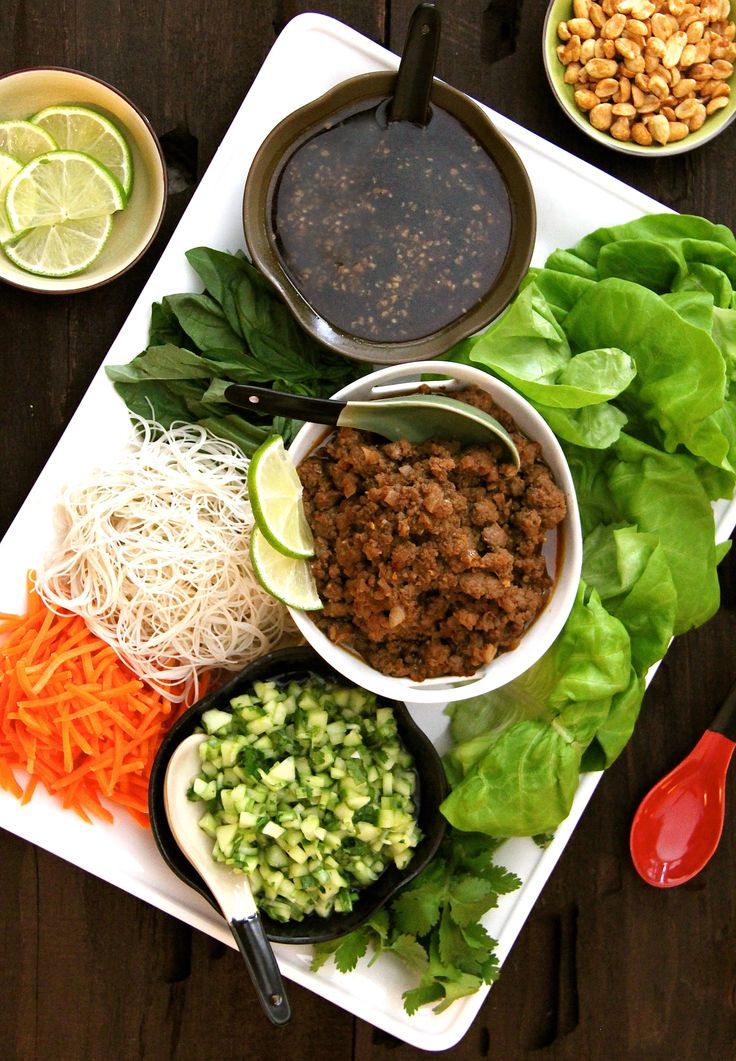 Vietnamese Beef Lettuce Wraps with Rice Noodles and Cucumber Relish