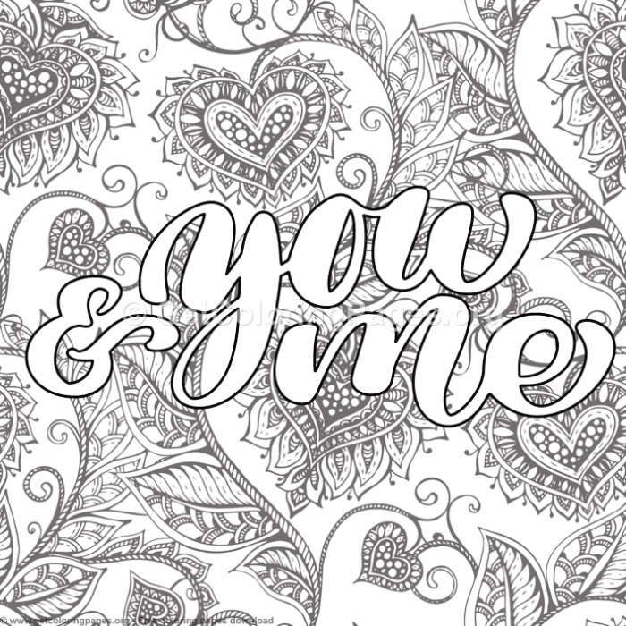 Valentines Lettering You And Me Coloring Pages Words Coloring Book Love Coloring Pages Swear Word Coloring Book