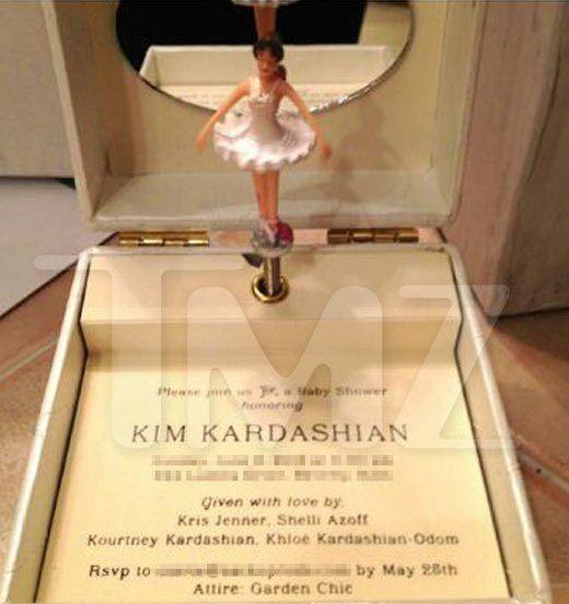 See Kim Kardashian's music box shower invite it plays Kanye West's 'Hey Mama'