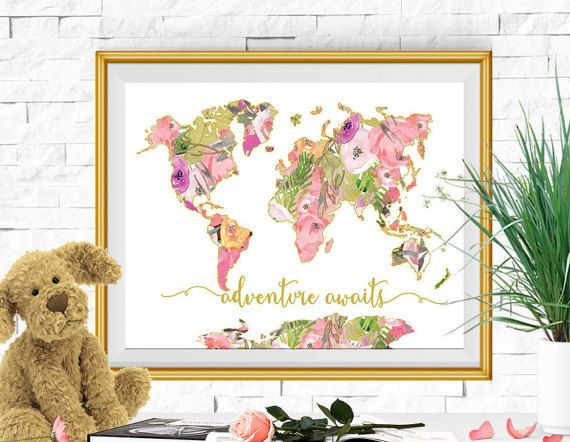 Adventure Awaits Large Floral World Map Print Pink Gold