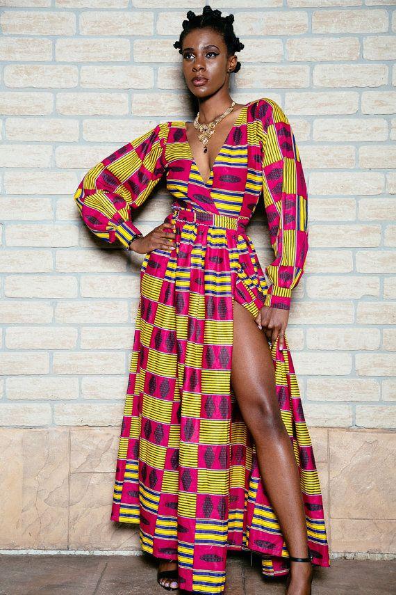African print wrap dress by ofuure on Etsy ~African fashion, Ankara, kitenge, African women dresses, African prints, Braids, Nigerian wedding, Ghanaian fashion, African wedding ~DKK