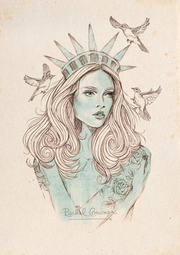 NEW YORK Poster - Fashion Illustration - Statue of Liberty - Travel Poster - Adventure - Wall Art - Mint - Turquoise - Birds - A3 Print by Rachillustrates on Etsy https://www.etsy.com/listing/201287229/new-york-poster-fashion-illustration