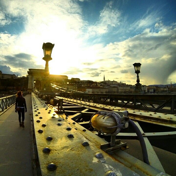 Sunset in the city Budapest