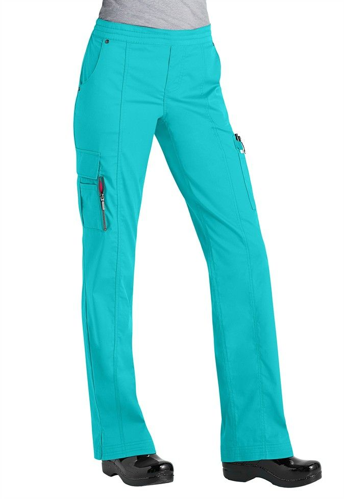 Beyond Scrubs Blaire utility inspired scrub pants. #9128SB. At Life Uniform, size Small, $30-$32. Stretchy, love the pockets with zippers! Xs is only slightly too small. [52 cotton/26 poly/19 tencel/3 spandex]