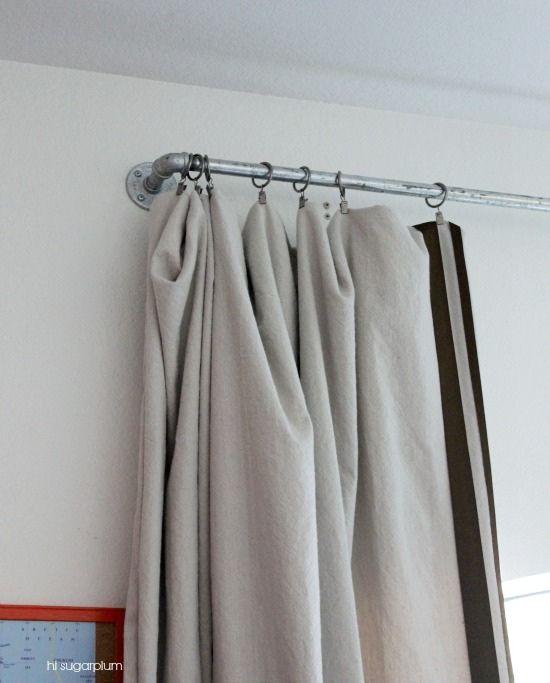 Hi Sugarplum   DIY Galvanized Pipe Curtain Rod