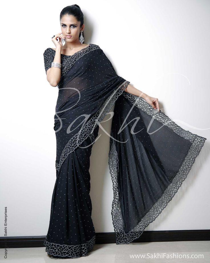 Black & Silver Chiffon Saree   Sakhi Fashions