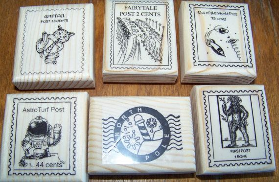 Lot of 6 New Mounted Rubber Stamp - FAUX POSTAGE, POSTOIDS #stampers #abracadabrastamps