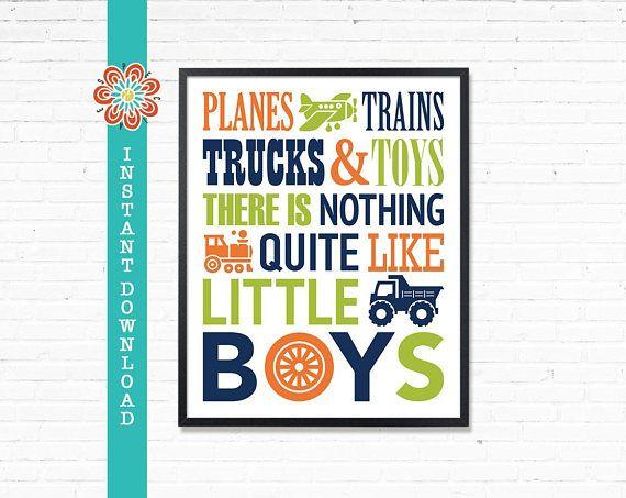 Planes trains trucks and toys Printable boys room decor navy