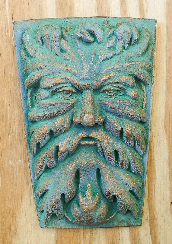 Cast Stone Green Man Wall Hanging Garden Art Plaque By 1pigbeading, $30.00