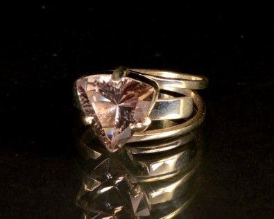 Anel Ajustável de Cristal Facetado 3 Quilates em Prata 950
