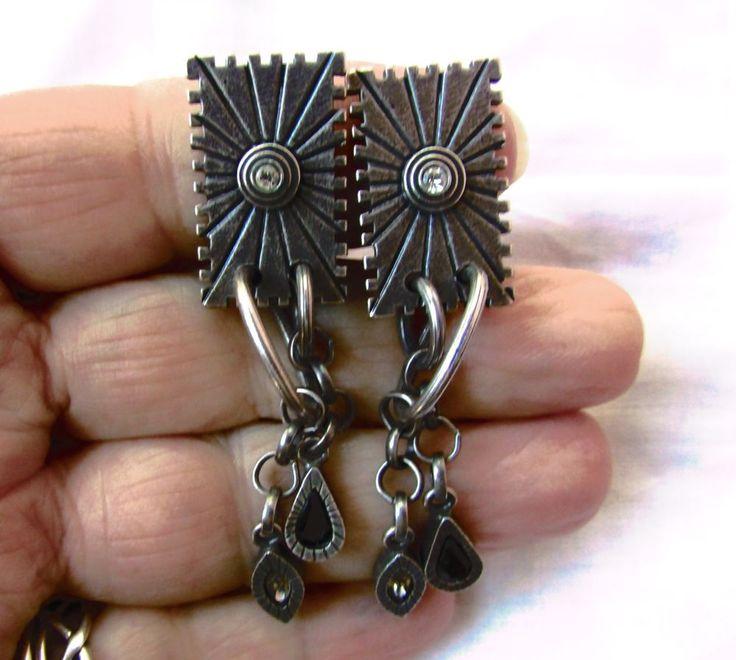 Patricia Locke Signed Dangle Black & White Crystal Silver Tone Clip Earrings  #PatriciaLocke #DropDangle