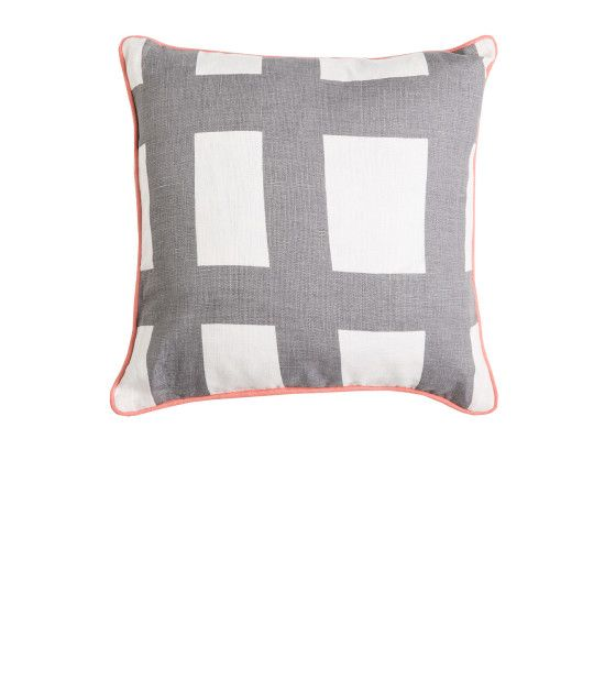 THE SEA TANGLE SQUARE LINEN CUSHION - Grey with Peach Piping. Shop here: http://kateandkate.com.au/shop/collections/the-sea-tangle-square-linen-cushion-grey-with-peach-piping/ //  #exhalebykateandkate #kateandkate #kkcushions #cushion #interior #design #home #bed #bedroom #lounge #inspo #textiles #grey