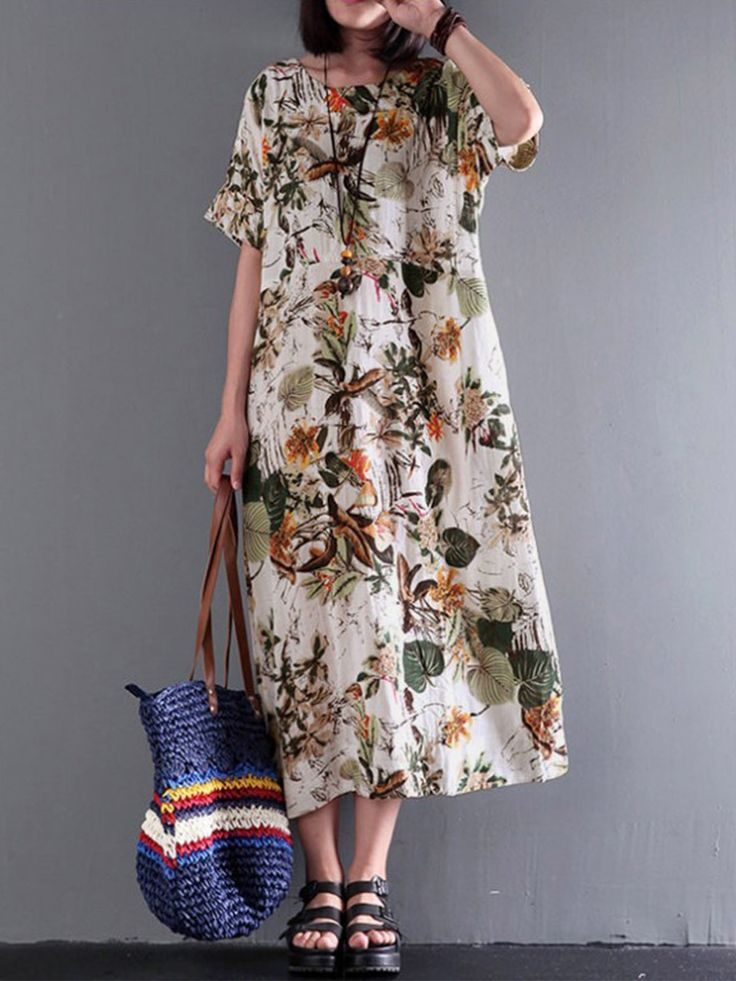 Vintage Women Plus Size Dresses Floral Printed Casual Dress