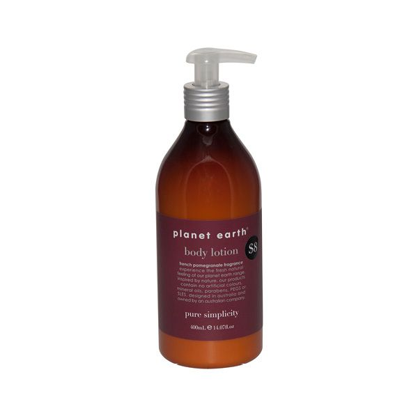Experience the fresh, natural feeling of the Planet Earth range with the French PomegranateFragranced body lotion.    Inspired by nature, our products contain no artificial colours, mineral oils, parabens, PEGS or SLES.    Designed in Australian and owned by an Australian company.