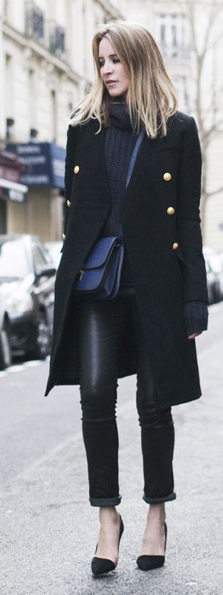 Camilla & Marc Black Women's Military Inspired Coat by Oracle Fox