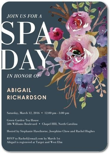 Gather the girls for a day of pampering at the spa with this sweet floral bridal shower invitation.