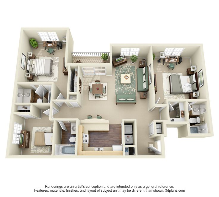 3 bedroom 1355 3d for for Apartment model plans