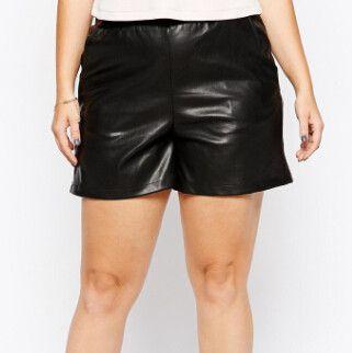Summer Female Faux PU Leather Women's Short Casual Plus Size 6xl Bigger 3XL Elastic Waist Ladies Short Trousers 4xl 5xl 6xl