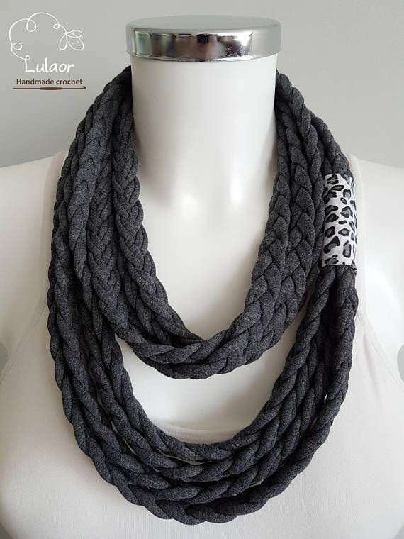 T-shirt scarf t-shirt necklace braided scarf fabric scarf