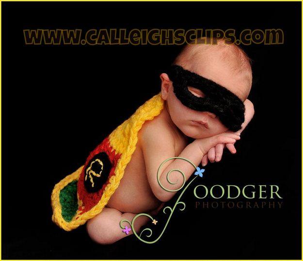 Batman & Robin Crocheted Geek Baby Costumes