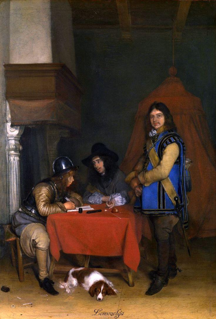Герард Терборх (Gerard Terborch, 1617-1681, Dutch artist). Офицер, диктующий письмо 1655-58 Национальная галерея