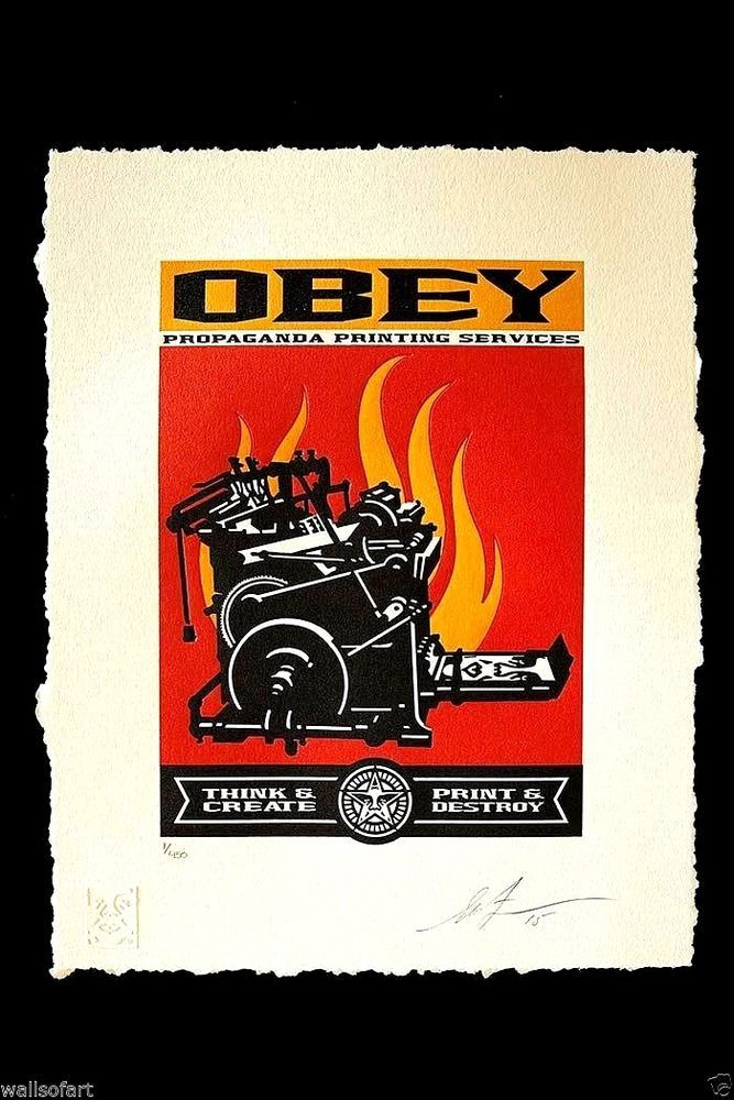 Available for sale from black book gallery shepard fairey print destroy letterpress letterpress on paper 13 x 10 in