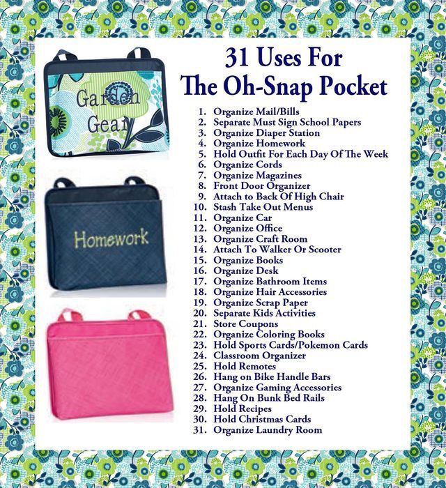 31 uses for Oh Snap Pocket Qualify to add a Tall Organizing Tote for $10 with every $35 you spend. Join my VIP Facebook Page at https://www.facebook.com/groups/205912619823859  www.mythirtyone.com/brendakrause