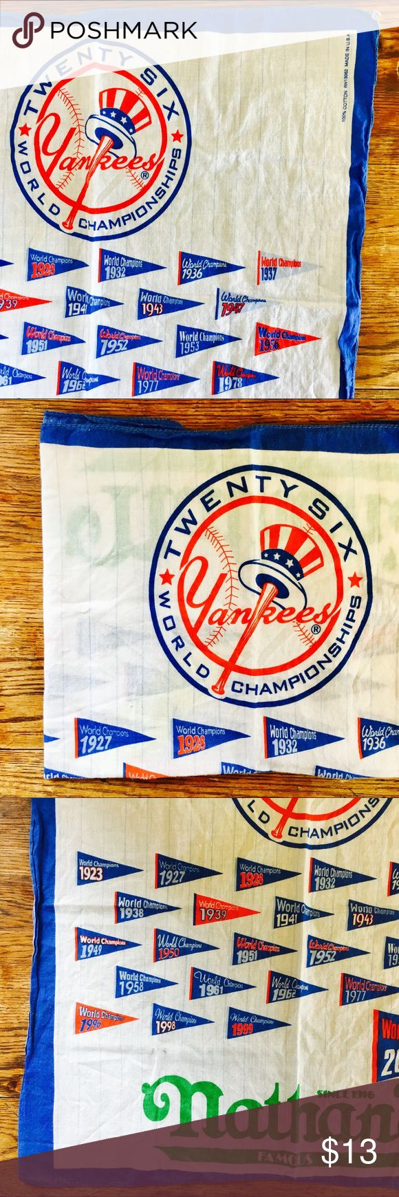 Yankees 2000 World Series Champions Bandana too fun. gentle wear, fair pre-loved condition. a few spots, stains, loose strings. missing seam on one side. a million wears left, perfect for everything. 100% cotton. colors are bright. Accessories Scarves