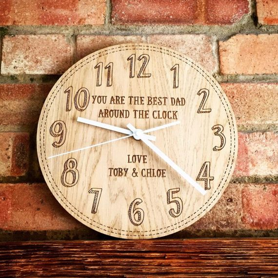 Personalised clock gift for dad fathers day gift by MantaMakesLtd
