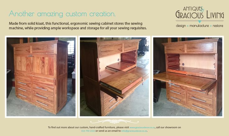 Custom sewing cabinet beautifully crafted by our master craftsmen
