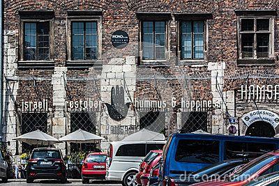 Krakow, Poland - June 12, 2015: Quarter of Kazimierz. View of the Israeli restaurant