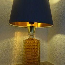 Whiskey Burbon Karaffe Kristallglas alt antik carafe crystal old antique Lampe Unikat unique lamp light lighting Beleuchtung