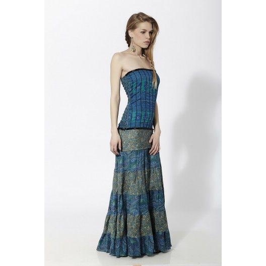 Vestido largo palabra de honor en combinación con varios estampados y torso efecto corset Azul - Mauna Barcelona - fashion - moda