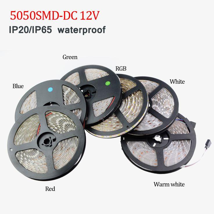 DC 12V SMD5050 RGB Led Strip light IP20/IP65 Waterproof 5M 60Led/M Led Stripe Fita Led String Bar tape lamp Bombillas LedLight