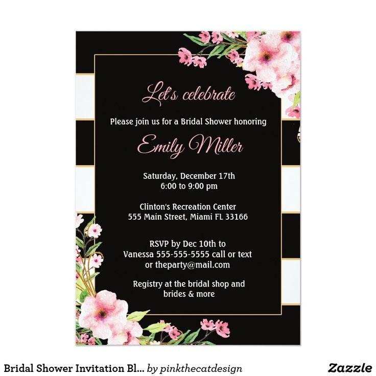 Bridal Shower Invitation Black Pink Floral Striped