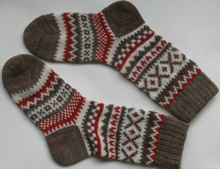 Grey white red warm autumn fall winter Scandinavian pattern knit wool short socks Christmas gift CUSTOM MADE. $25.00, via Etsy.