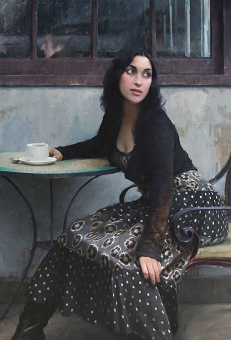 Artist: Jeremy Lipking (b. 1975), oil on canvas {contemporary figurative realism pretty female sitting outdoors at French café woman painting} Noticeable!! lipking.com