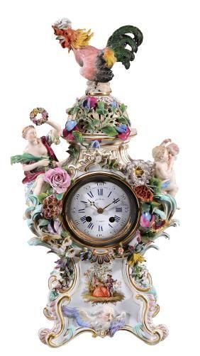 A Meissen flower-encrusted clock case , late 19th