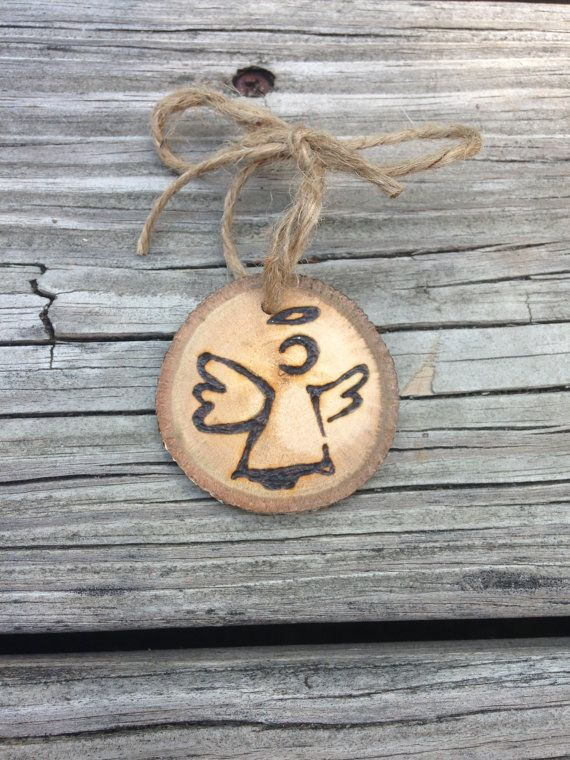 Angel Wood Burned Ornament by downtoearthcraft on Etsy