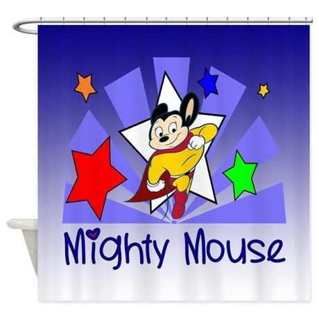 Mighty Mouse TV Shower Curtain on #Mighty Mouse TV #mice #mouse #cartoons #entertainment # boys #toddler #kids #tv cartoons #mighty mouse #vintage mighty mouse #Mighty Mouse Gifts and Clothing