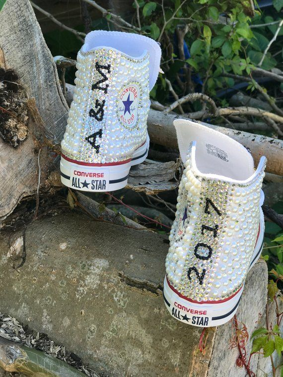 e1bf103e2ae0 Custom pearl and bling Graduation sneakers in 2019