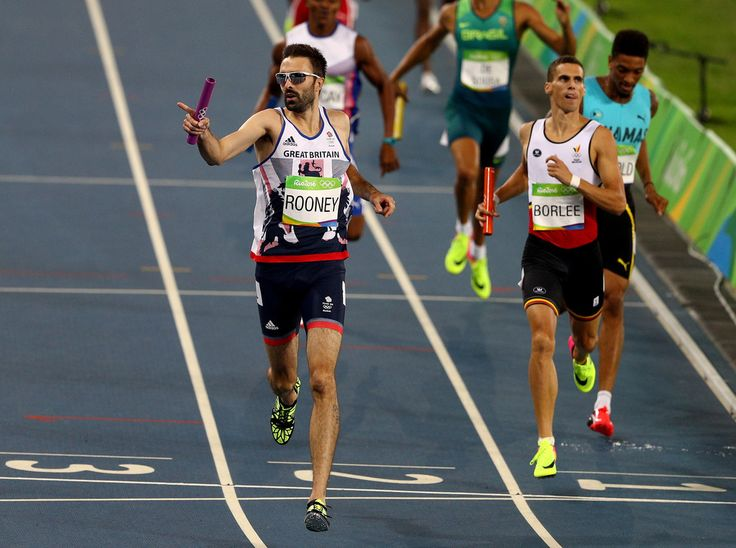 Martyn Rooney of Great Britain competes in Round One of the Men's 4 x 400m Relay on Day 14 of the Rio 2016 Olympic Games at the Olympic Stadium on August 19, 2016 in Rio de Janeiro, Brazil.
