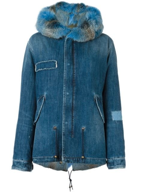 Shop Mr & Mrs Italy fox fur-trimmed denim parka.