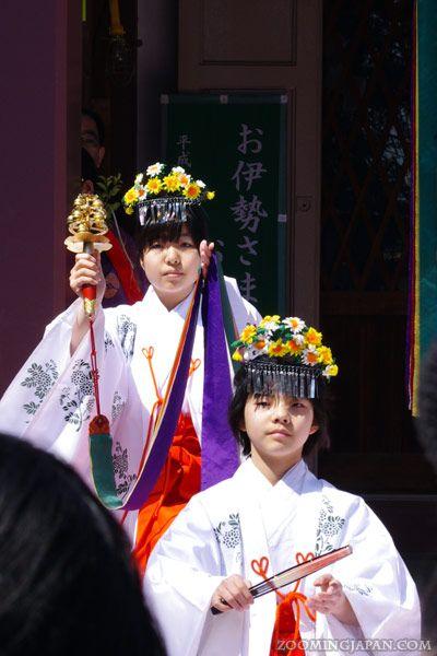 Miko (shrine maiden) at the Kanamara Matsuri (Phallus Festival) in Kawasaki (Kanagawa Pref.), April 2012.