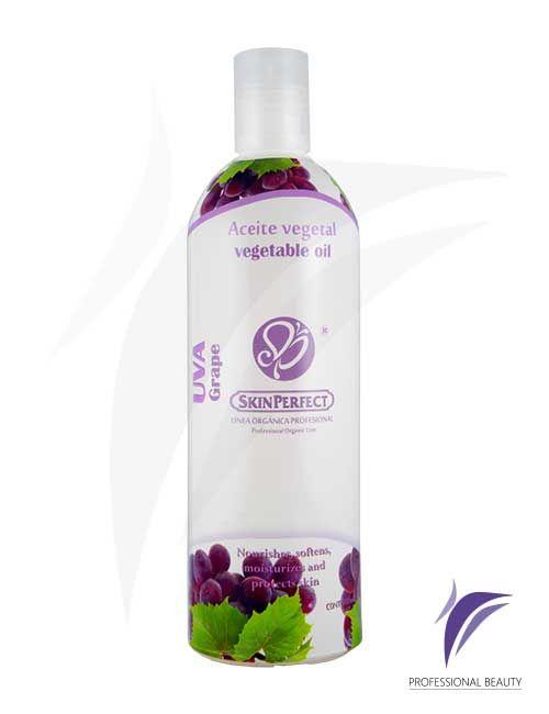 Aceite Vegetal Uva 500ml: Aceite vegetal de uva. Gracias a sus propiedades activa la microcirculación y mejora su poder osmótico. Los antioxidantes naturales de la uva combaten los radicales libres aportando firmeza, juventud en la piel además de el bienestar y relajación en la terapia de spa.